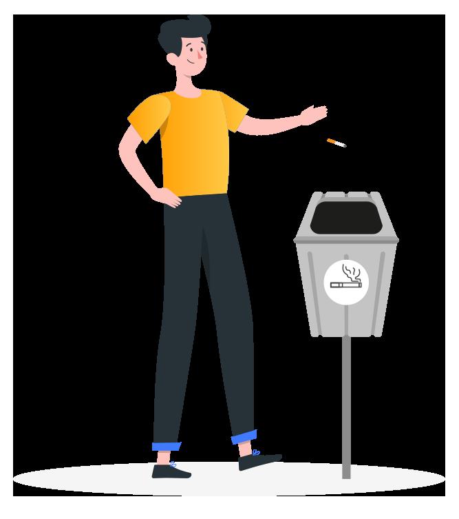 dessin homme qui jette un mégot de cigarette à la poubelle