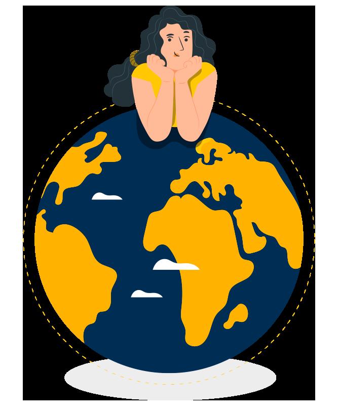 dessin de femme sur la terre, protéger la terre contre les mégots